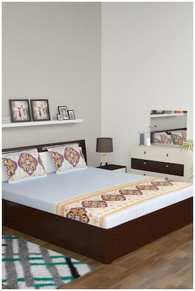 Bombay Dyeing Cotton Motifs Double Size Bedsheet 210 TC ( 1 Bedsheet With 2 Pillow Covers , Blue )