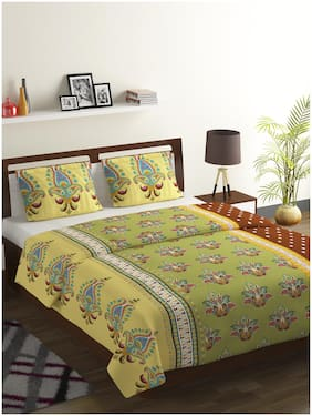 Bombay Dyeing Cotton Printed Double Size Bedsheet 104 TC ( 1 Bedsheet With 2 Pillow Covers , Yellow )