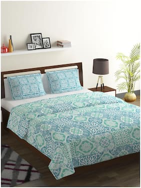 Bombay Dyeing Cotton Abstract Double Size Bedsheet 104 TC ( 1 Bedsheet With 2 Pillow Covers , Blue )