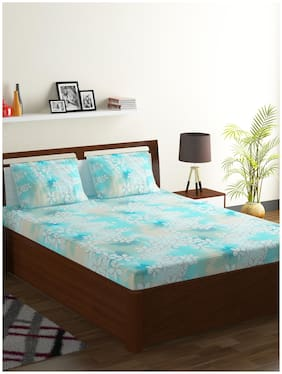 Bombay Dyeing Cotton Floral Double Size Bedsheet 104 TC ( 1 Bedsheet With 2 Pillow Covers , Blue )
