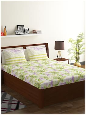 Bombay Dyeing Cotton Floral Double Size Bedsheet 104 TC ( 1 Bedsheet With 2 Pillow Covers , Multi )