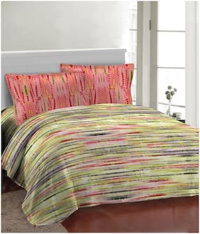 Bombay Dyeing Microfibre Striped Double Bedsheet ( 1 Bedsheet With 2 Pillow Covers , Multi )