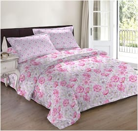 Bombay Dyeing Caelina Pink Double Bedsheet with 2 Pillow Cover Set (BD-C-004)