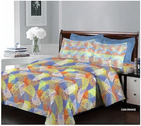 Bombay Dyeing 124 TC Printed Flat Double Bedsheet ( Orange , Pack of 3 )