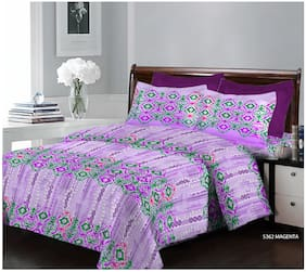 Bombay Dyeing 124 TC Printed Flat Double Bedsheet ( Purple , Pack of 3 )