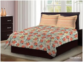 Bombay Dyeing Cotton Floral Double Bedsheet ( 1 Bedsheet With 2 Pillow Covers , Orange )