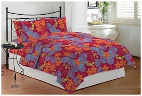 Bombay Dyeing Microfiber Printed Double Size Bedsheet ( 1 Bedsheet With 2 Pillow Covers , Pink )