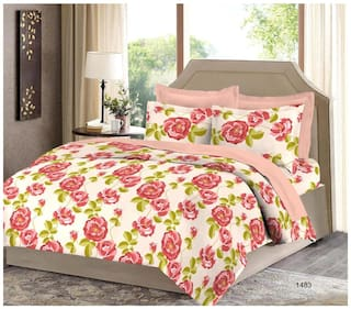 Bombay Dyeing Cotton Floral Double Size Bedsheet ( 1 Bedsheet With 2 Pillow Covers , Multi )
