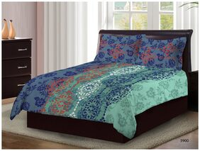 Bombay Dyeing Axia 3900 Cotton Double Bedsheet with 2 Pillow Covers