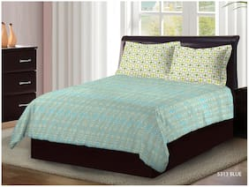 Bombay Dyeing Latest Collection Pure Cotton Double BedSheet (220cm X 240cm) With Two Pillow Cover  (5313 BLU)