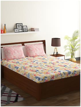 Bombay Dyeing Breeze 120 TC Cotton Double Bedsheet with 2 Pillow Covers