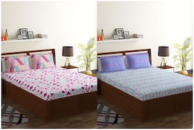 Bombay Dyeing Cotton Double Bed sheet (2 Bedsheets With 4 Pillow Covers , Multi Color)