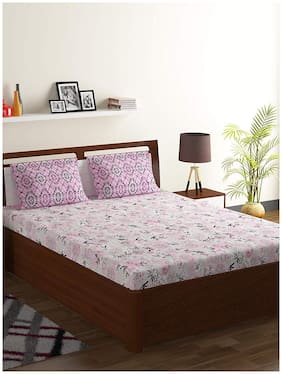 Bombay Dyeing Cotton Floral Double Size Bedsheet 104 TC ( 1 Bedsheet With 2 Pillow Covers , Pink )