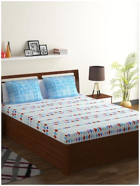 Bombay Dyeing Axia 104 TC Cotton Double Bedsheet with 2 Pillow Covers