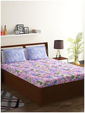 Bombay Dyeing Cotton Floral Double Bedsheet ( 1 Bedsheet With 2 Pillow Covers , Multi )