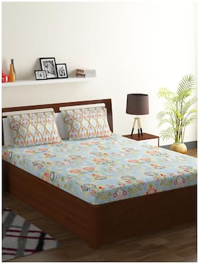 Bombay Dyeing Cotton Floral Double Bedsheet ( 1 Bedsheet with 2 Pillow Covers , Blue )
