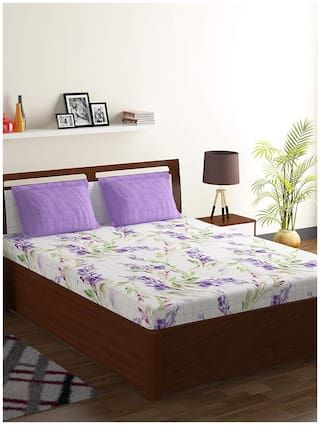 Bombay Dyeing Cotton Floral Double Size Bedsheet 104 TC ( 1 Bedsheet With 2 Pillow Covers , Purple )