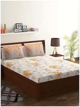 Bombay Dyeing 104 TC Floral Flat Double Bedsheet ( Orange , Pack of 3 )