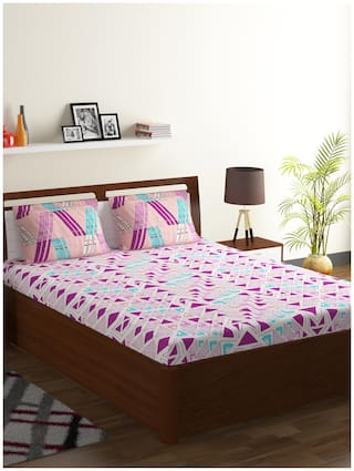 Bombay Dyeing Cotton Abstract Double Bedsheet ( 1 Bedsheet With 2 Pillow Covers , Purple )
