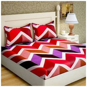 Bombay Linen Microfiber Geometric Double Bedsheet ( 1 Bedsheet with 2 Pillow Covers , Multi )