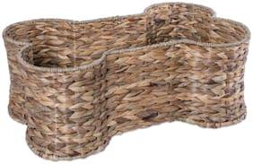 Bone Dry DII Medium Hyacinth Bone Shape Storage Basket, 21x13x8, Pet Organizer