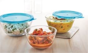 Borosil 3Pcs Mixing bowl With Lid (0.5L + 0.9L+1.3L)