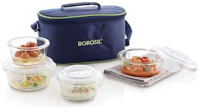 Borosil 4 Containers Glass Lunch Box - Blue