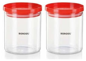 Borosil - 600 ml Glass Grocery Container (Pack Of 2;Transparent)