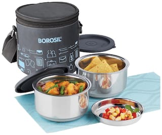 Borosil Carry Fresh -Stainless Steel Insulated Lunch box 2 containers (280 ml x 2) Vertical