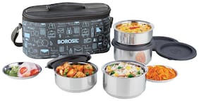 Borosil Carry Fresh -Stainless Steel Insulated Lunch box 4 containers (280 ml x 2 +180 ml x 2)