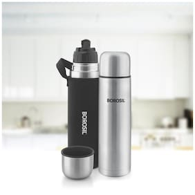 Borosil Hydra Thermo Stainless Steel Water Bottle Set of 1 ( Silver , 750 ml )