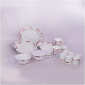 Borosil LA Opala Silk Collection 35 Pcs Dinner Set - Blooming Lotus