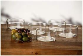 Borosil LARGE KATORIE Borosilicate Glass Vegetable Bowl (Transparent;Pack of 6)