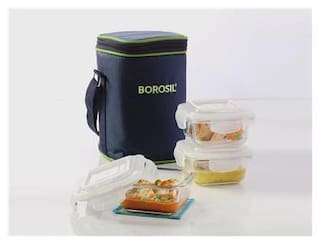 Borosil LUNCH BOX Microwavable Klip-N-Store Square 320 ml