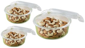 Borosil Microwavable Klip - N - Store Round Dish With Lid - Set of 3 (400;620;950 ml)