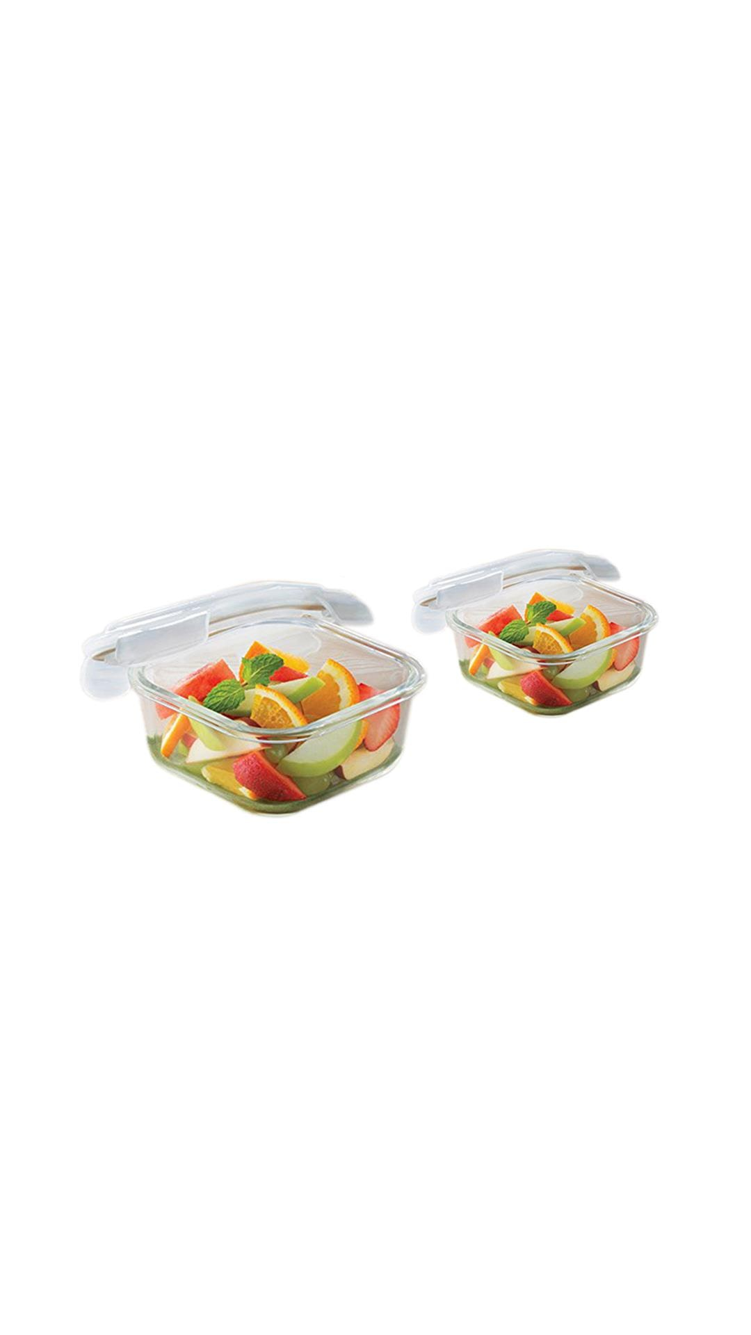 Borosil Microwavable Klip   N   Store Square Dish With Lid   Set of 2  520, 320 ml