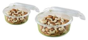 Borosil Microwavable Klip - N - Store Round Dish With Lid - Set of 2 (620;950 ml)