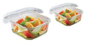Borosil Microwavable Klip - N - Store Square Dish With Lid - Set of 2 (520;320 ml)