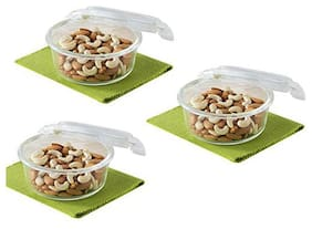 Borosil 3 Container Glass Lunch Box Set of 3 ( Transparent ,  720 ml )