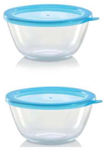 Borosil Serving Bowl Set Of 2   1300 ml+1300 ml  With Blue Lid Borosilicate Glass Serving Bowl  Transparent;Pack Of 2  by Raman Enterprises