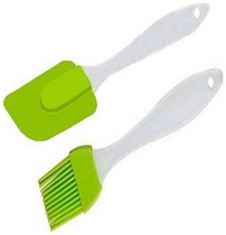 BORYS Silicone Spatula and Pastry Brush Set for Cake, Mixer, Decorating, Cooking, Baking(Green Colour)