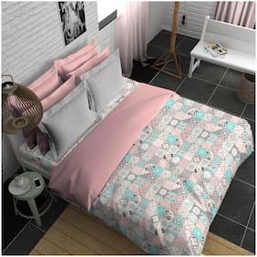 Boutique Living India Alpha;Offbeat Smooth amp;Silky Touch Sateen King Printed Bedsheet Set