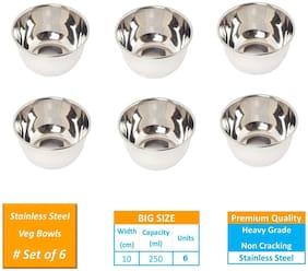 Bowl Set of 6 Pcs Stainless Steel Bowl/Katori Set - 250 ML Curry Bowl/Sabzi /Rajma Bowl/Serving Dal Heavy Gauge Bowl Steel Color - 6 Pcs by Design Villa