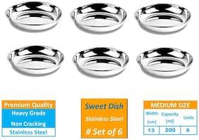 Bowl Set of 6 Pcs Stainless Steel Bowl Set - 200 ML Sweet Dish/Vati Ice Cream/Dessert Bowl/ Halwa Katori Heavy Gauge Bowl - Steel Color 6 Pcs By Design Villa