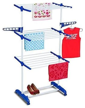 Branco 3 Layer Jumbo Steel Cloth Drying Stand (Made in India,Orange or Blue)