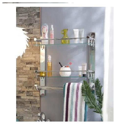Branco Stainless Steel  Double Glass Shelf with Double Towel Rod / Rack