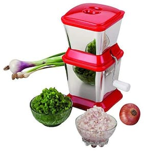 Brand World Onion Chopper & Vegetable Chopper Quick Cutter with Rotating Blade for fine Chopping Made from Virgin Plastic & Stainless Steel Blade