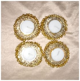 BRAND WORLD Metal Golden Candle holder