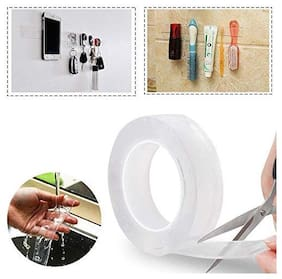 Brand World Double-Sided, Washable Traceless Nano Gel, Multipurpose Grip Roll, Kitchen Cellphone, Pads or Tile Magic Adhesive Tape (3 m)