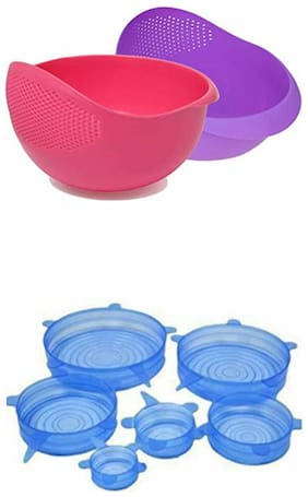 Brand World Combo Offer Silicon Stretch Lids (Pack of 6)+ Rice Bowl ( Pack of 2)
